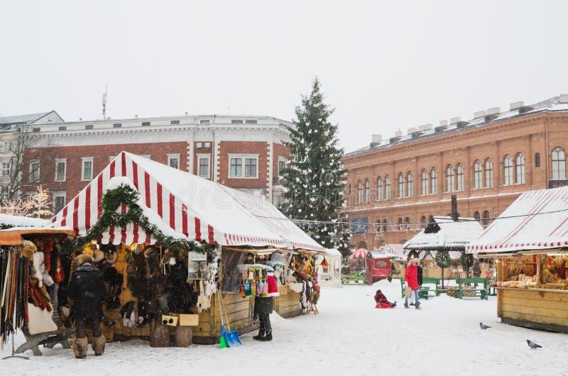 圣诞节市场在里加 免版税库存图片