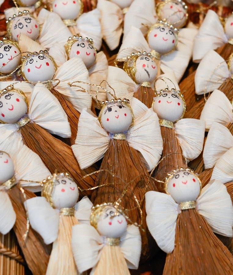 圣诞节市场 装饰-天使被做  免版税库存图片