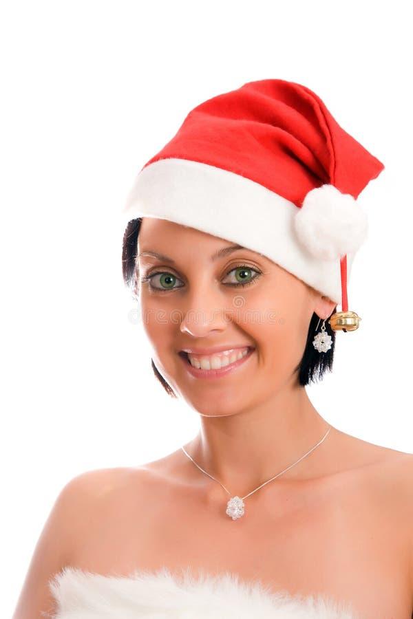圣诞节帽子妇女 免版税库存照片