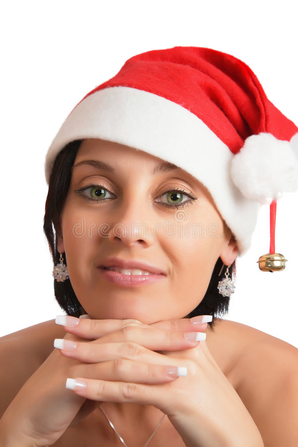 圣诞节帽子妇女 免版税库存图片