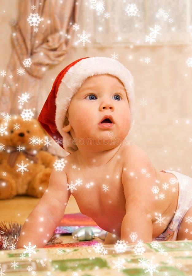 圣诞节帽子小孩 库存照片