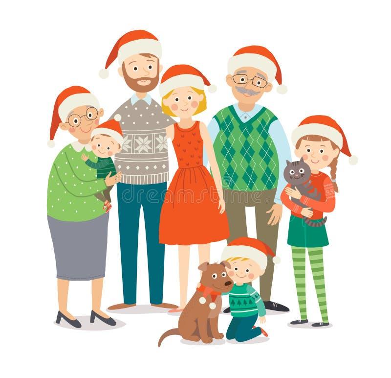 圣诞节帽子的大幸福家庭有宠物的 一起祖父母、父母和孩子 动画片传染媒介手拉的eps 库存例证