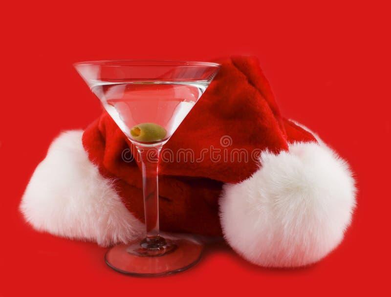 圣诞节帽子马蒂尼鸡尾酒 免版税库存照片