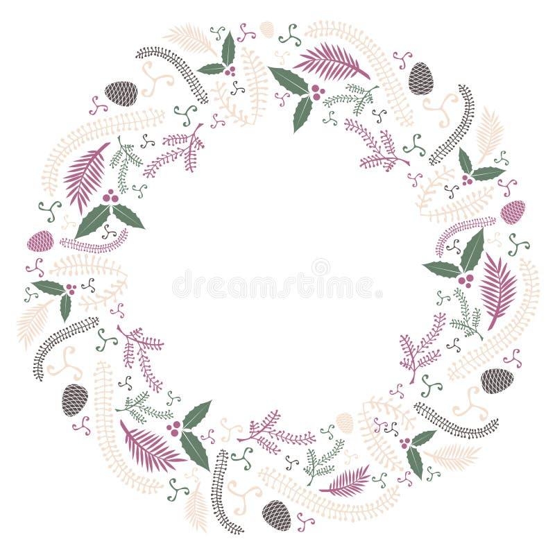 圣诞节平的花圈明信片传染媒介 免版税库存图片