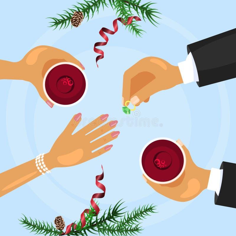 圣诞节庆祝和订婚圆环 向量例证