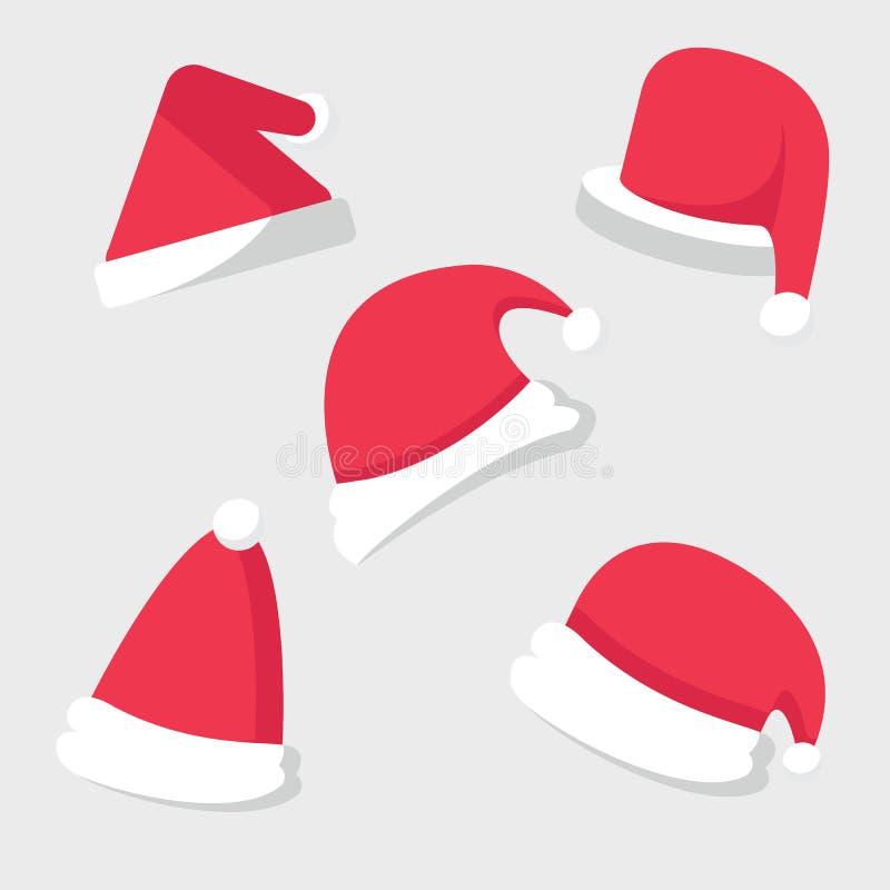 圣诞节庆祝圣诞老人帽子集合 向量例证