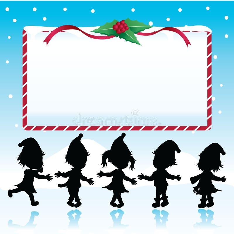 圣诞节开玩笑牌剪影 向量例证