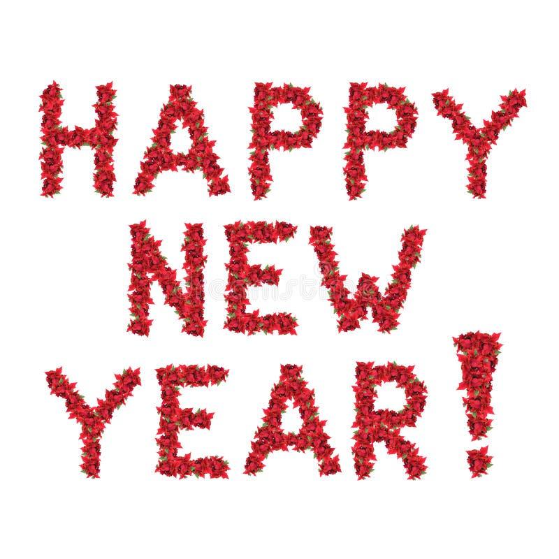 圣诞节开花问候愉快的新的红色年 免版税库存图片