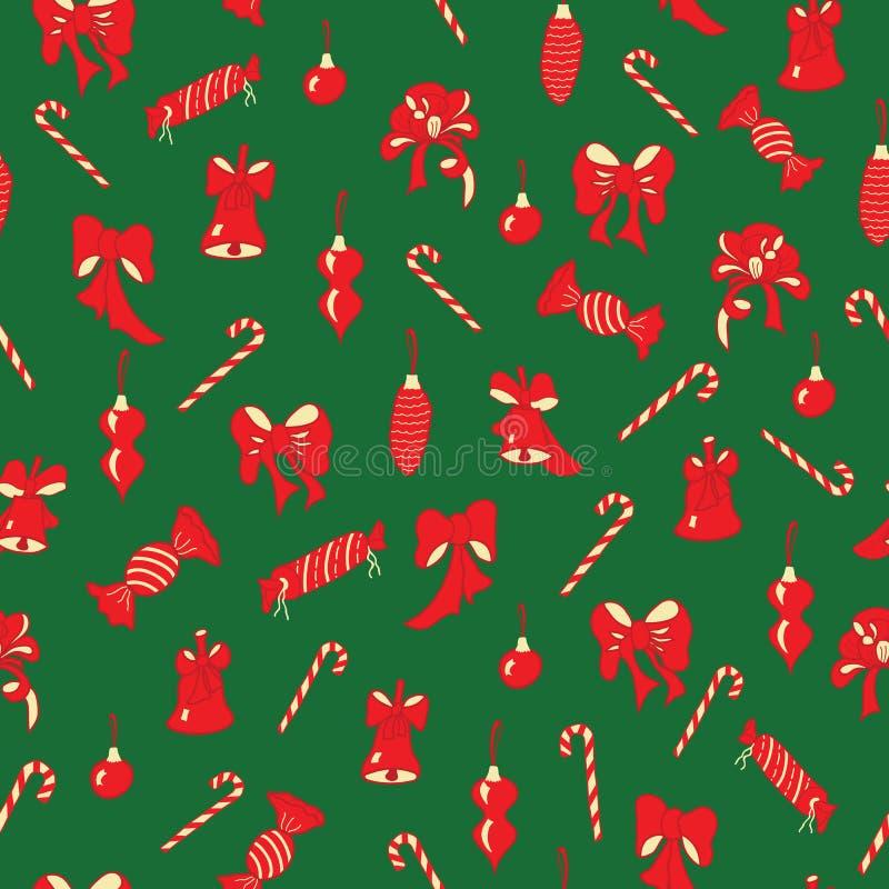 圣诞节弓,响铃,糖果无缝的样式 库存例证