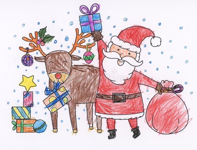 圣诞节彩图圣诞老人鹿 库存例证