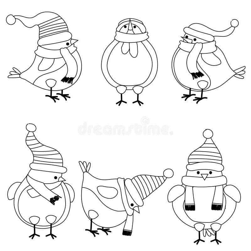 圣诞节彩图的鸟汇集 向量例证