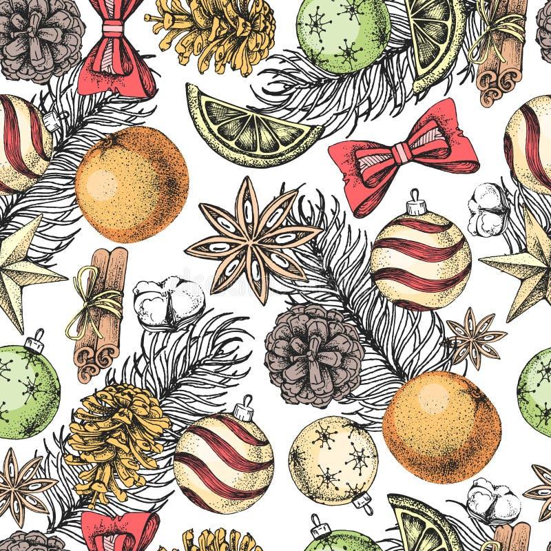 圣诞节得出无缝的样式的假日手 圣诞节属性 库存例证