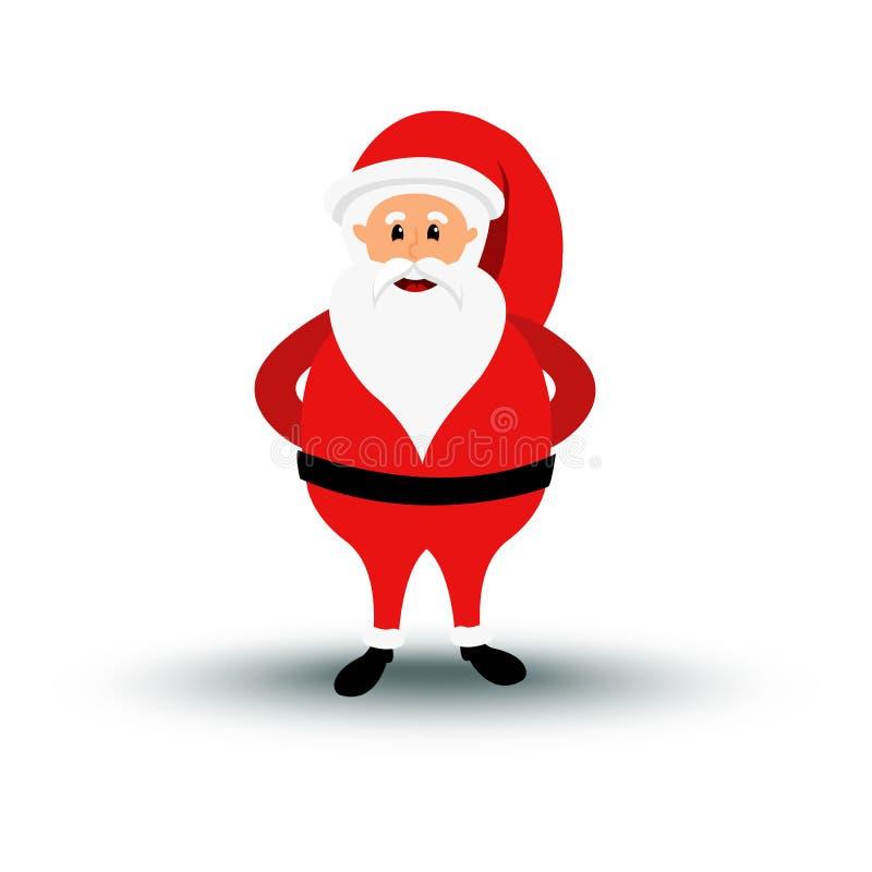 圣诞节微笑的圣诞老人字符站立 欢乐服装圣诞老人xmas的动画片有胡子的人 向量例证