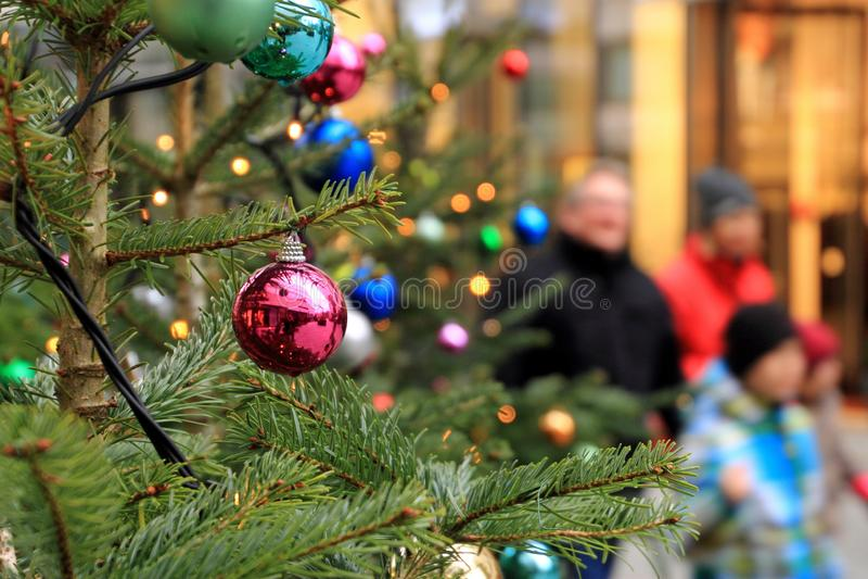 圣诞节心情,当购物时 库存照片