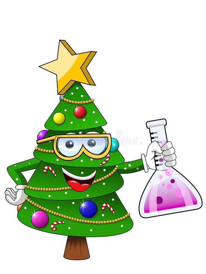 圣诞节快乐或xmas字符在白色动画片样式传染媒介标志股票例证网隔绝的吉祥人化学家 向量例证