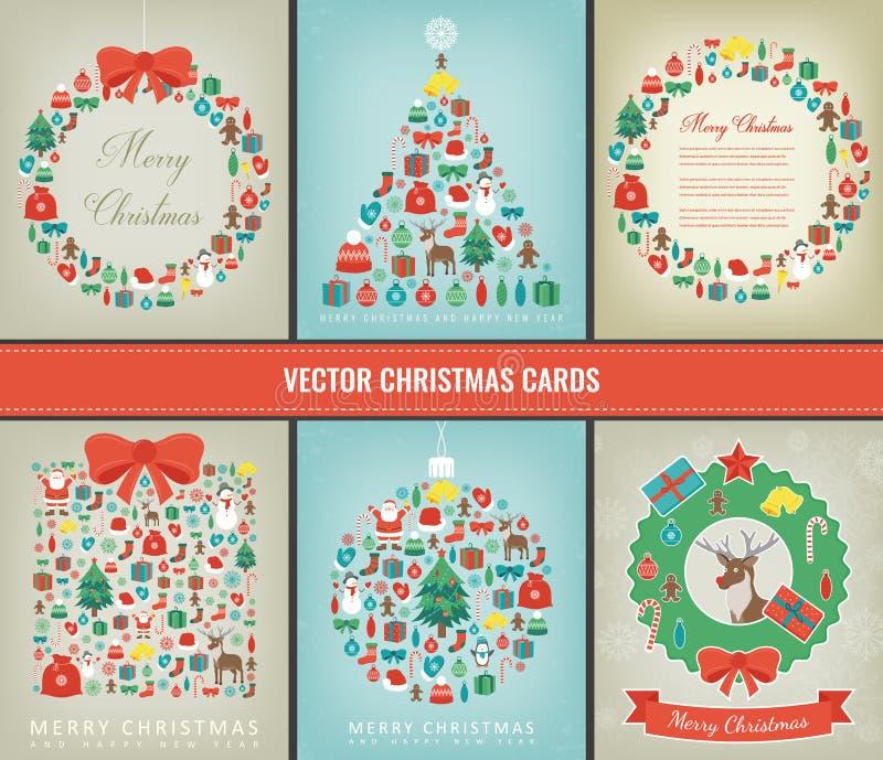 圣诞节快活的集 与圣诞节元素的贺卡汇集 向量 皇族释放例证