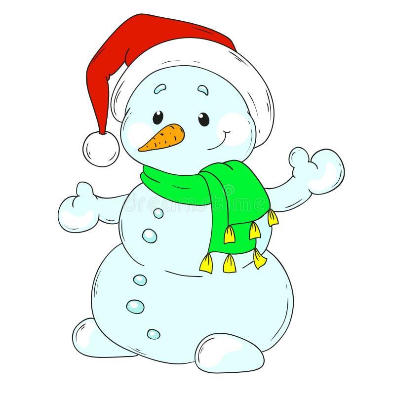 圣诞节快活的雪人 雪人漫画人物 向量例证