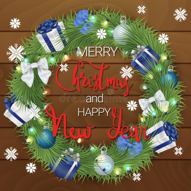 圣诞节愉快的快活的新年度 一个欢乐花圈由具球果分支和圣诞装饰做成 圣诞节花圈 向量例证