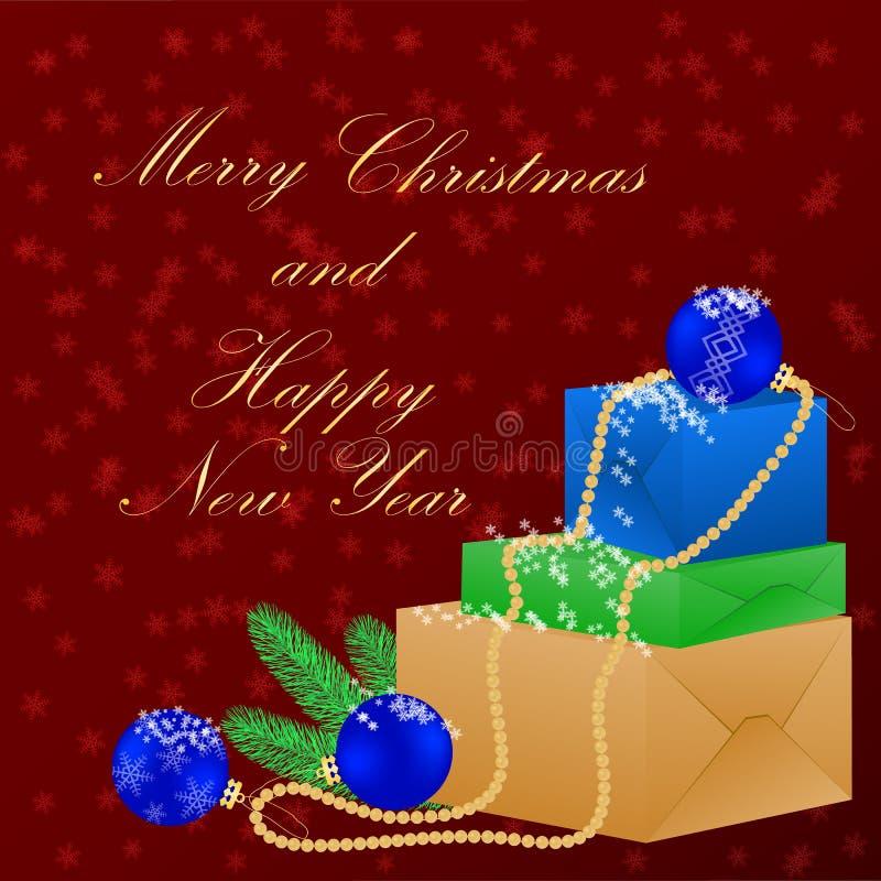 圣诞节愉快的快活的新年度 与圣诞节礼物和装饰的背景 库存例证