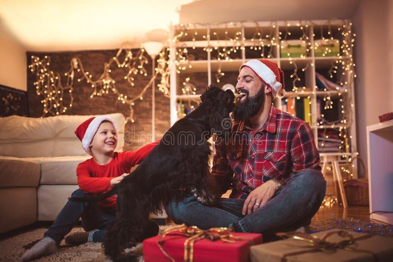 圣诞节愉快的男孩和父亲有小狗的 库存图片