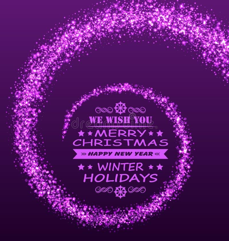 圣诞节愿望有不可思议的尘土紫色闪烁背景 皇族释放例证