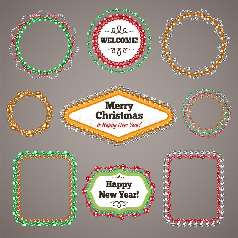 圣诞节成串珠状与拷贝空间的诗歌选框架 向量例证