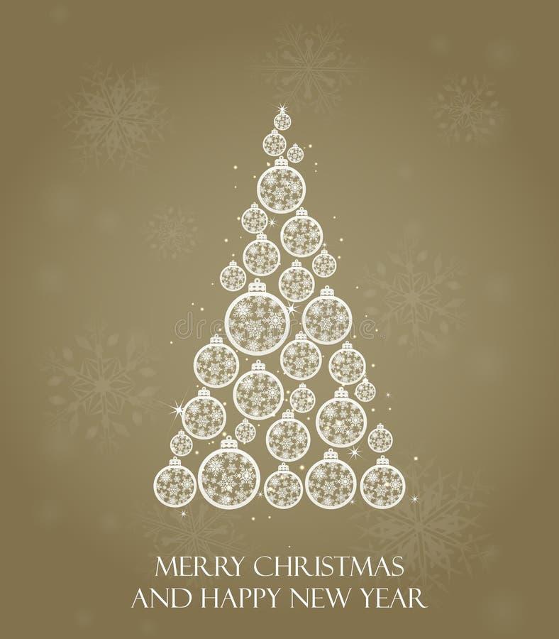 圣诞节我的投资组合结构树向量版本 假日贺卡,日历,横幅,海报,邀请设计  新年好 库存例证