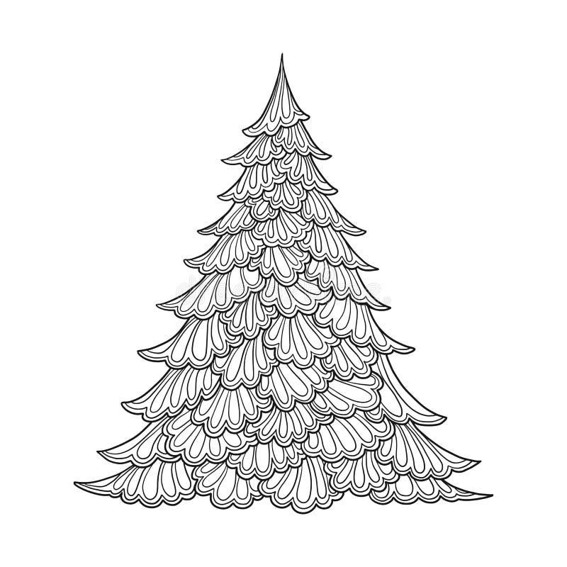 圣诞节我的投资组合结构树向量版本 等高图画 有益于上色成人彩图的页 库存例证