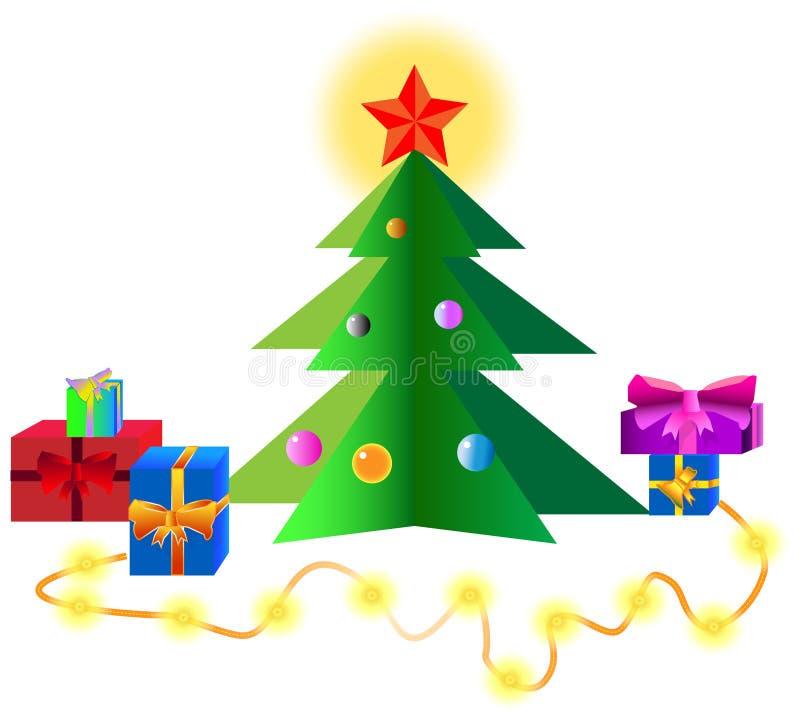 圣诞节我的投资组合结构树向量版本 库存例证