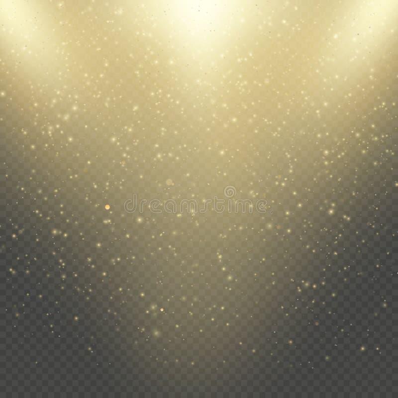 圣诞节或新年发光的闪闪发光雨 抽象金子闪烁空间星云亮光作用 金黄尘土覆盖物层数 库存例证