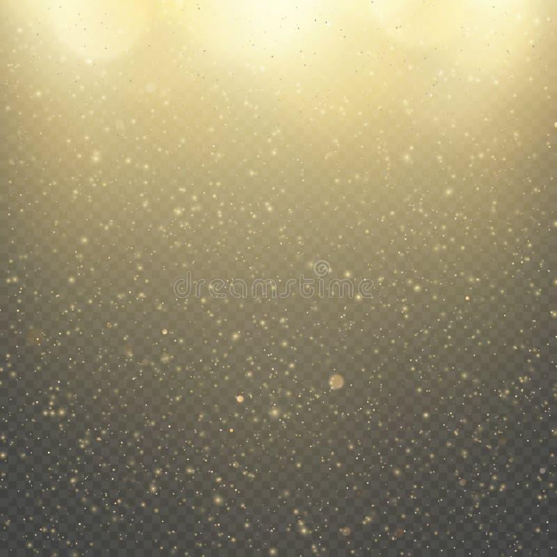 圣诞节或新年发光的闪闪发光雨 抽象金子闪烁空间星云亮光作用 金黄尘土覆盖物层数 向量例证