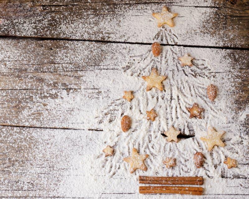圣诞节或新年姜饼曲奇饼,文本的,食谱空间 库存照片