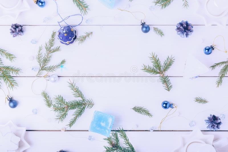 圣诞节或新年框架构成 E 免版税库存图片