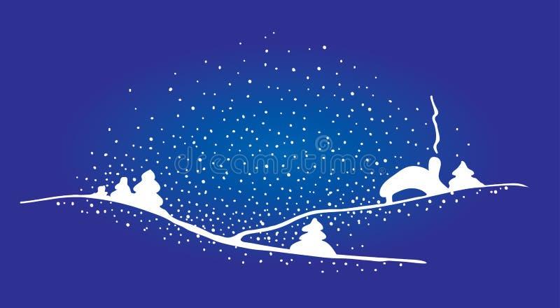 圣诞节房子雪结构树 库存例证