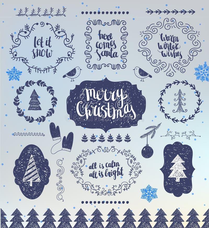 圣诞节手拉的传染媒介设计元素 印刷元素,标志,象,葡萄酒标签,徽章,框架 皇族释放例证