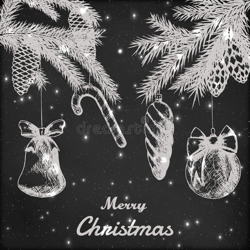 圣诞节手拉的传染媒介例证-装饰装饰品、分支和杉木锥体剪影,葡萄酒样式 grunge 向量例证