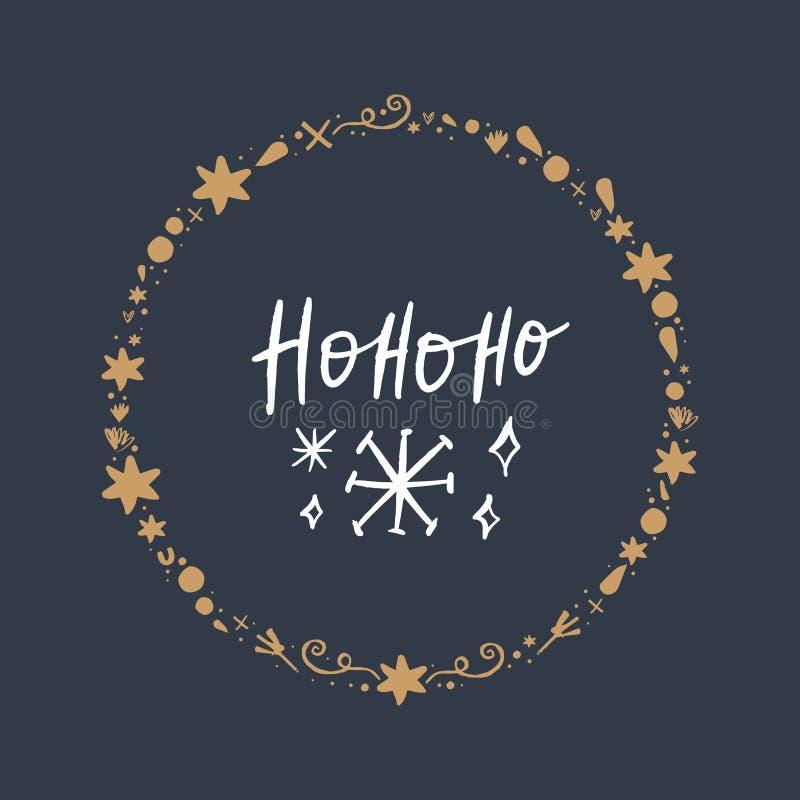 圣诞节手拉的在上写字的假日图象 它可以使用作为一张贺卡、印刷品和海报 皇族释放例证