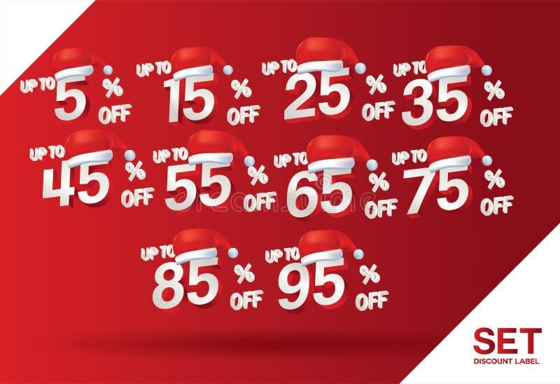 圣诞节折扣销售设置了5,15,25,35,45,55,65,75,85,95%在与帽子圣诞老人项目的红色标号组传染媒介 寒假 库存例证
