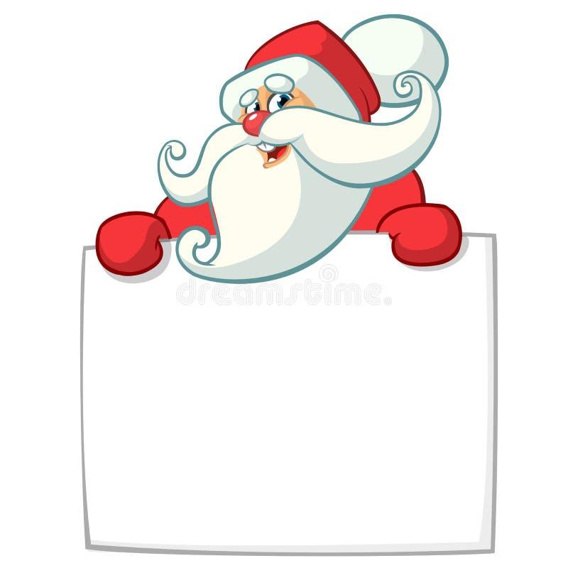 圣诞节拿着空白的纸卷或标志招呼的文本的滑稽的圣诞老人字符的动画片例证 被隔绝的传染媒介 皇族释放例证