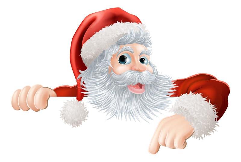 圣诞节指向下来符号的圣诞老人 库存例证