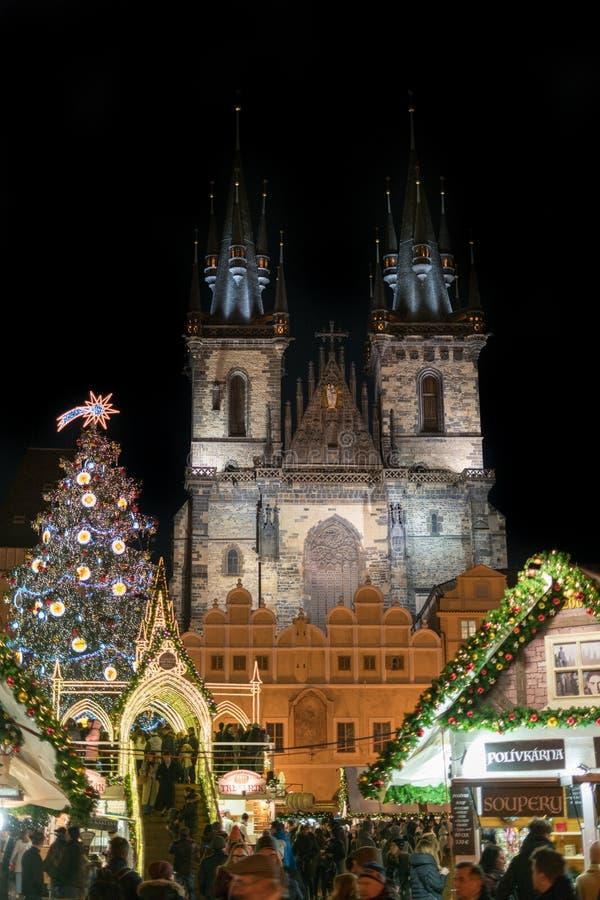 圣诞节捷克市场布拉格共和国 免版税图库摄影