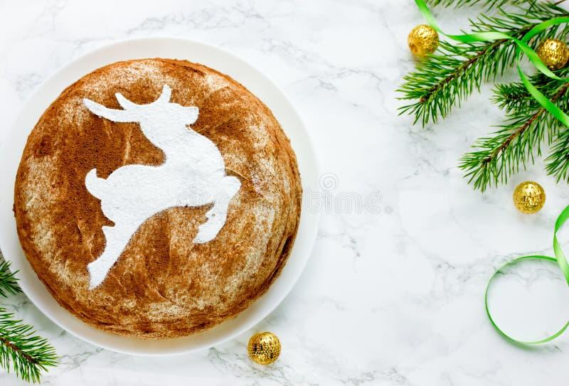 圣诞节提拉米苏蛋糕,可口和美丽的蛋糕 库存照片