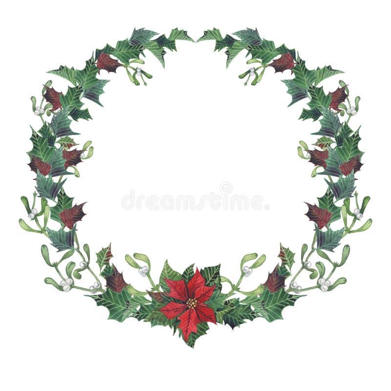 圣诞节收集新年度 与叶子,槲寄生分支,冷杉木,一品红的明亮的花圈 手画水彩 皇族释放例证