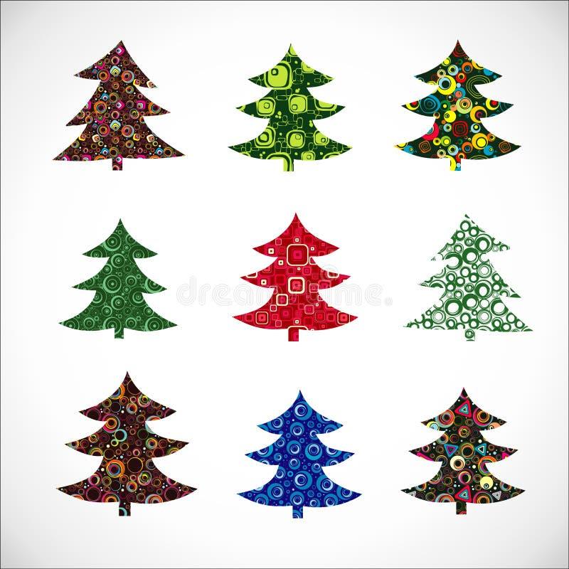 圣诞节收集毛皮结构树 向量例证