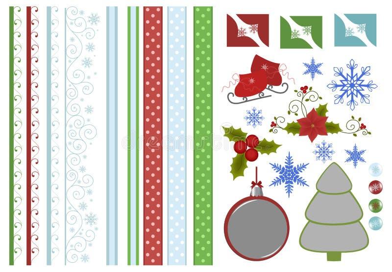 圣诞节收集装饰剪贴薄 皇族释放例证