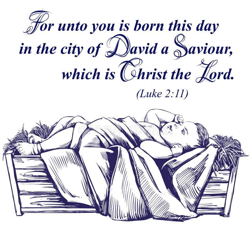 圣诞节故事 圣诞夜,小耶稣在饲槽,圣子,基督教手拉的传染媒介的标志 向量例证