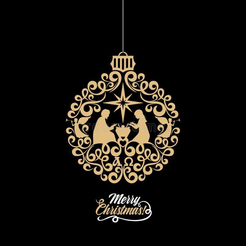 圣诞节故事 玛丽和约瑟夫有小的耶稣 天使宣布喜讯 被传统化的球圣诞节 向量例证