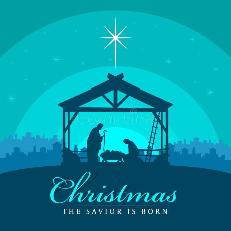 圣诞节救主是与每夜的圣诞节风景玛丽和约瑟夫的出生横幅标志在有小耶稣传染媒介设计的一个饲槽 皇族释放例证