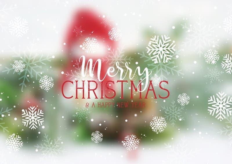 圣诞节文本和雪花在defocussed雪人背景 库存例证