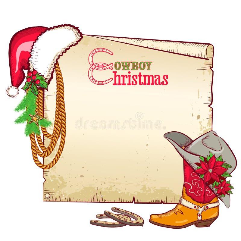 圣诞节文本的牛仔纸。传染媒介卡片backgr 库存例证